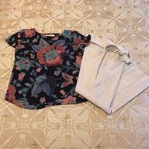 LOFT floral print short sleeve blouse S